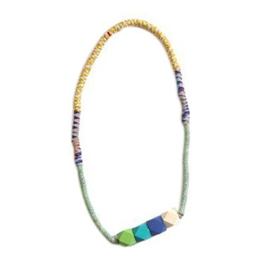 Rope Whip Bead Necklace, Azul Mix